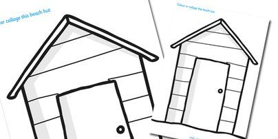 Beach huts, Seaside and Colouring sheets on Pinterest