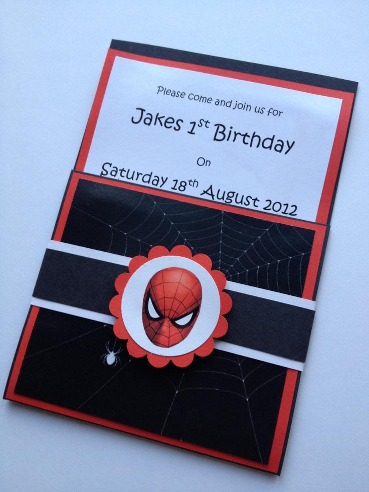 Handmade Spiderman Party Invitations & Envelopes Set Of 10