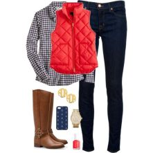 """Red, White, & Boots"" by classically-preppy on Polyvore...but pink vest: ""Red, White, & Boots"" by classically-preppy on Polyvore...but pink vest"