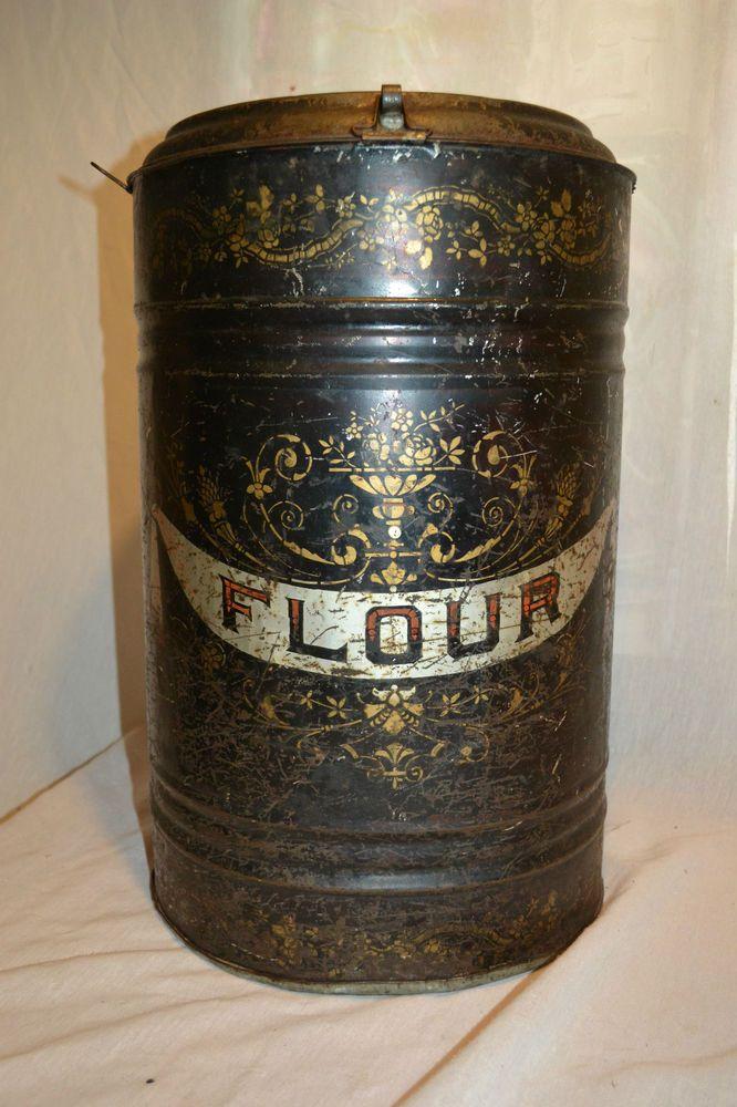 Primitive Antique Vtg Victorian General Store Flour Bin