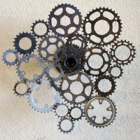 Recycled bicycle sprocket wall sculpture- spins 360 ...