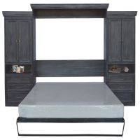 Venice Matrix Black Queen-Size Murphy Bed with 2 Cabinets ...