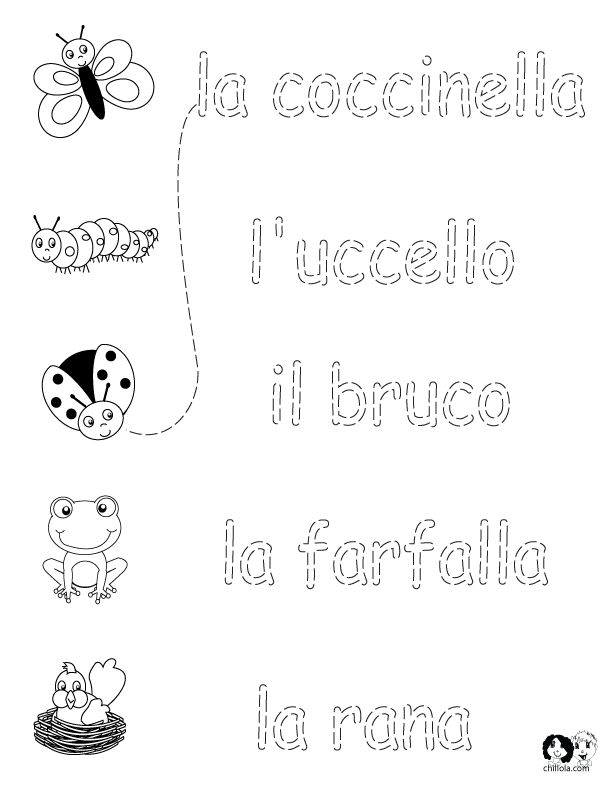Italian Worksheets for Kids ~ Spring Printout Italian