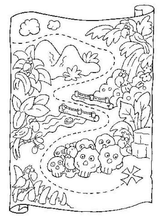Preschool coloring page of treasure map printable