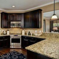 Dark wood and another corner stove?!?!?!   Kitchen Ideas ...