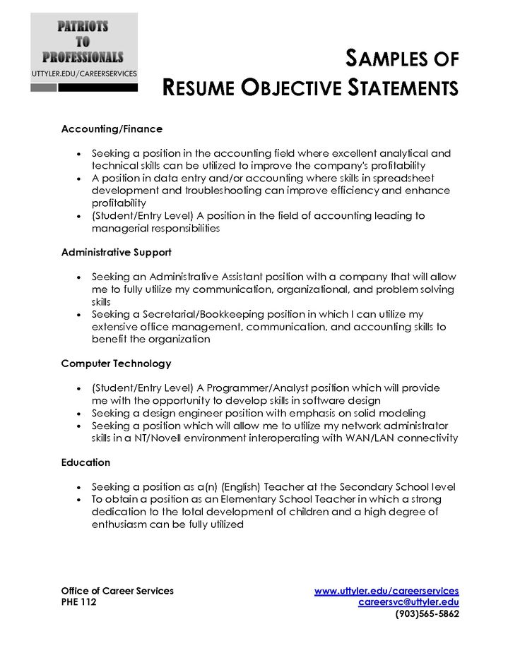 Resume Objective Phrases Objective Statements For Resume Resume