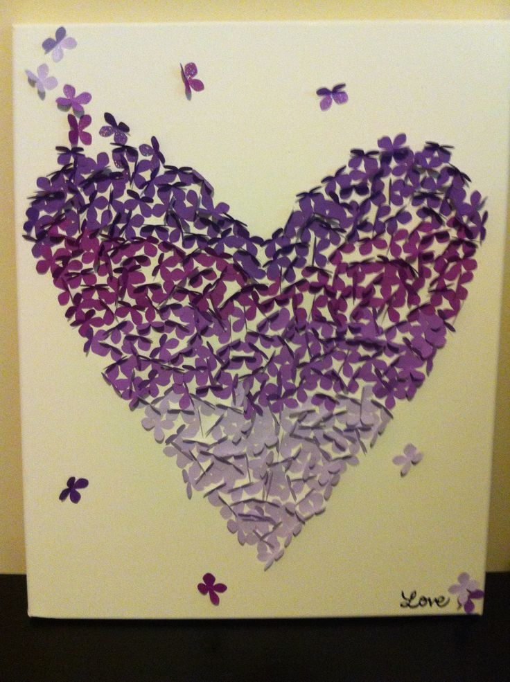 Purple DIY Canvas Wall Art Ombre Butterfly For My Room