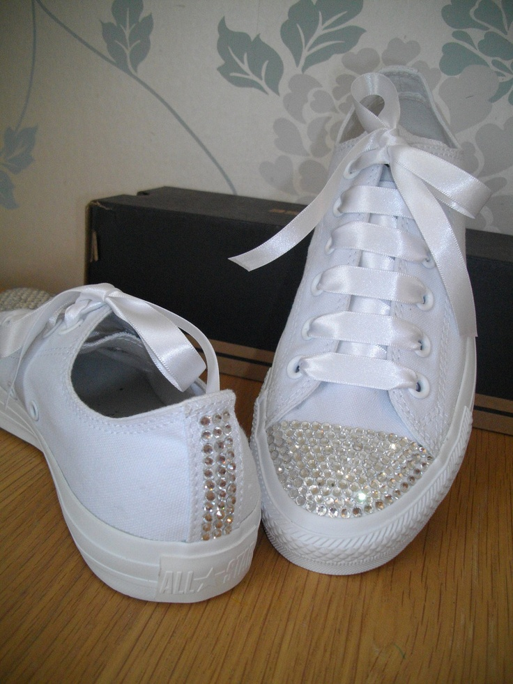 Adults White Leather SWAROVSKI crystal converse all sizes available from size 4UK eu37 7000
