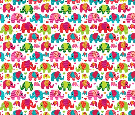 Lilly Pulitzer Fall Wallpaper Retro Kids Indian Elephant Pattern Fabric Fabric By