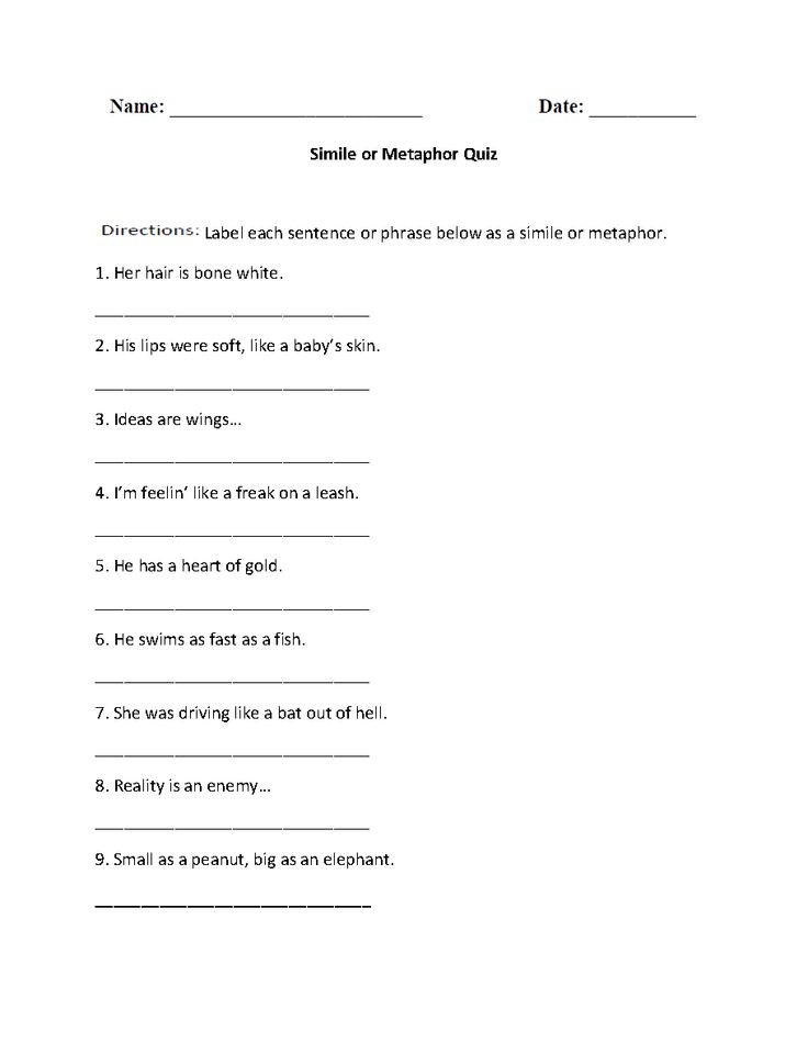 Simile, Quizes and Worksheets on Pinterest