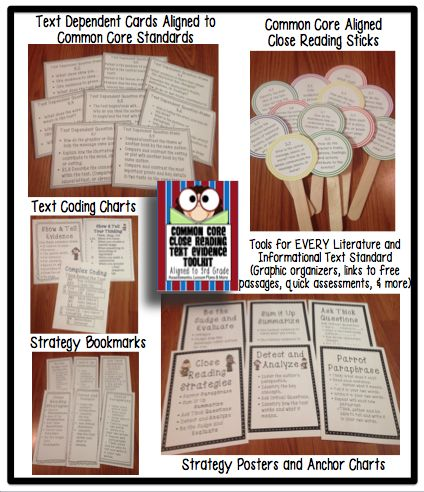 3rd Grade Common Core Tools for Close Reading Assessment
