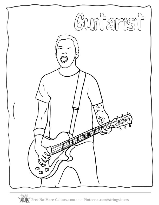 9 best images about Guitar Coloring Pages on Pinterest