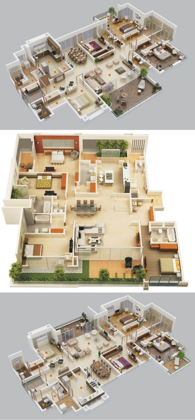 4 Bedroom Apartment House Plans Source Privie World