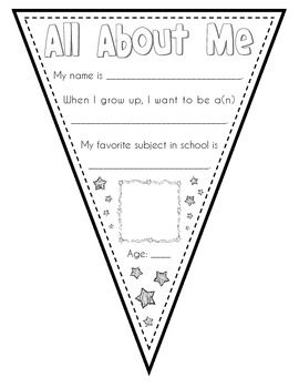 All About Me Super Star Pennant ~ FREE printable pages for