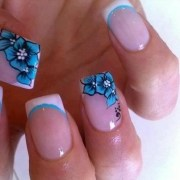 pretty french manicure with blue