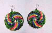 Native American Beaded Earring round gem set by KianiKine