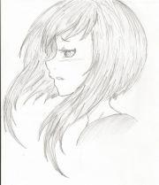 manga girl hair side view eyes