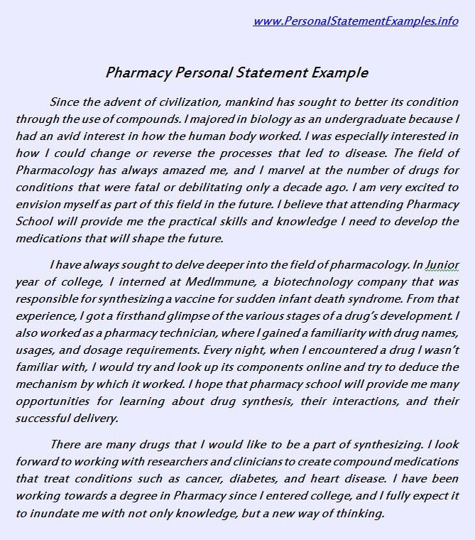 Useful Pharmacy Personal Statement Example
