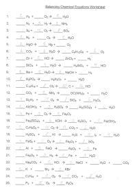 Balancing Chemical Equations Worksheet Answer Key ...