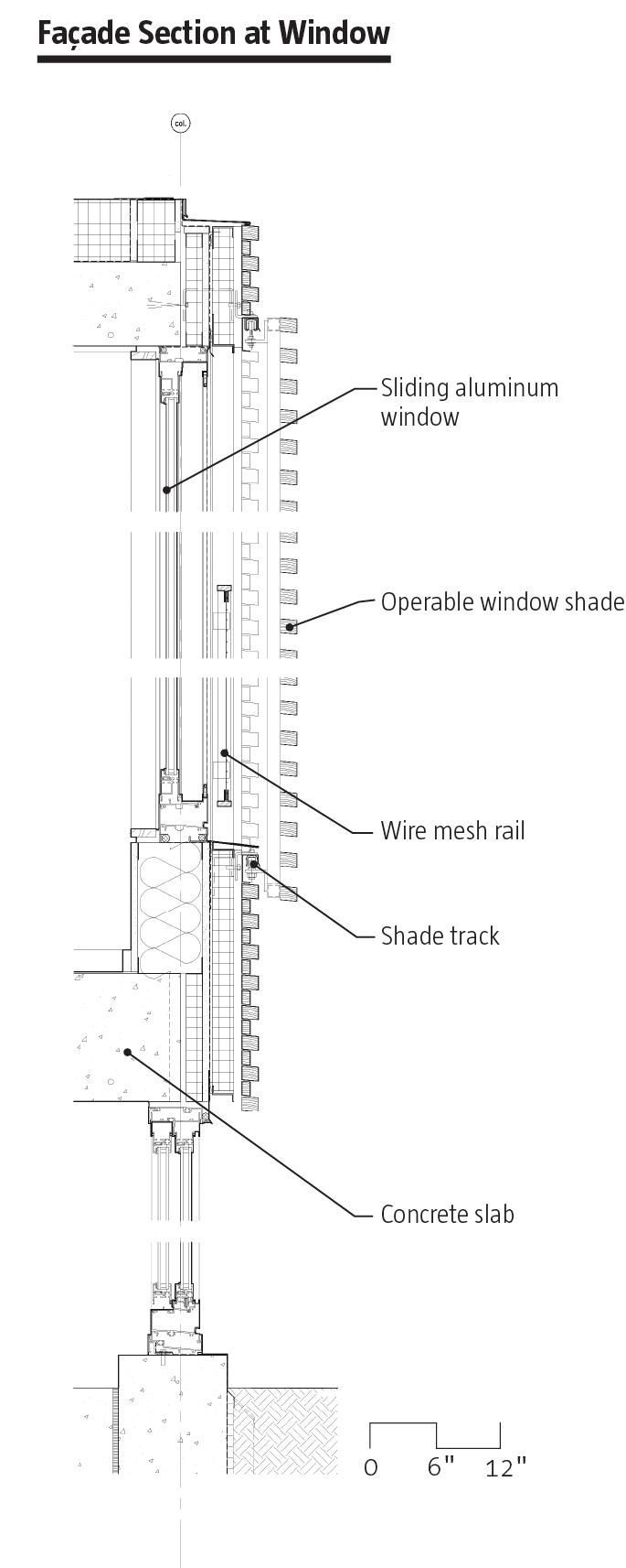 Facade Section at Window Housing Tower at Kripalu Center