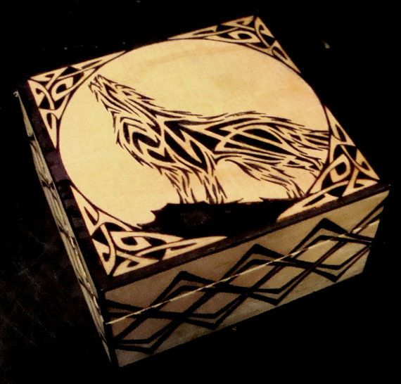 Celtic Wolf Knotwork Wood Burned Box WC Original