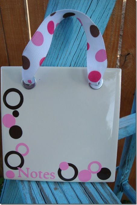 Mini dry erase boards from Bath Tiles:  These are so cute & so simple to whip up. Seriously, a tile, & som
