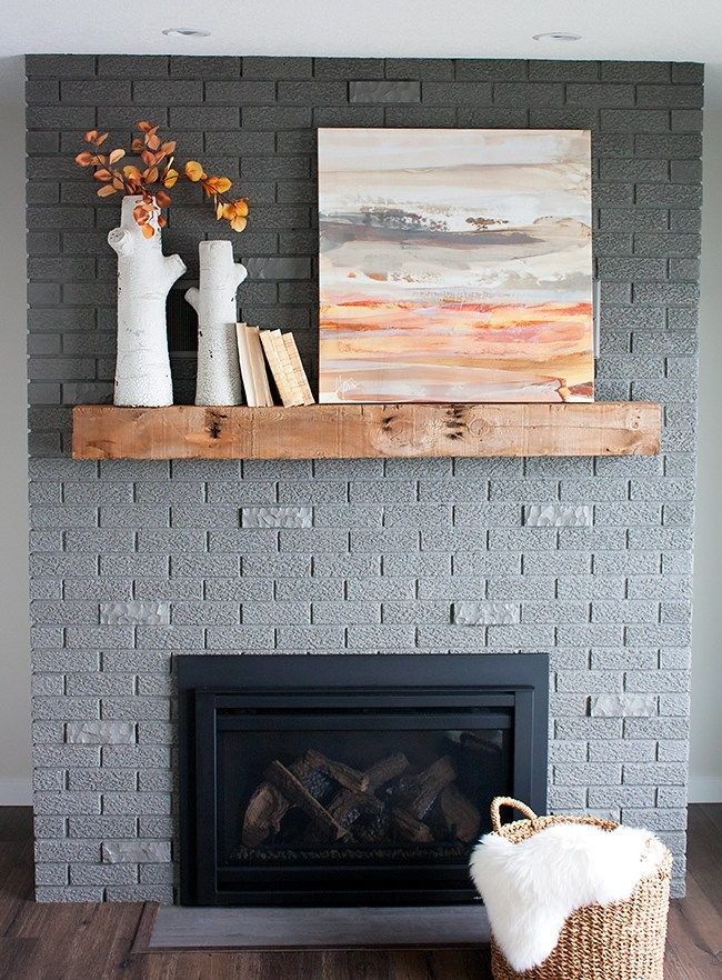 70s Fixer Upper Brick Fireplace Makeover  Before and After  Brick fireplace makeover Gray