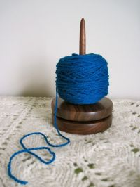 Yarn holder - walnut - lazy susan for knitting and crochet ...