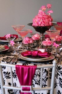 Hot pink black and white wedding table setting. Love the ...