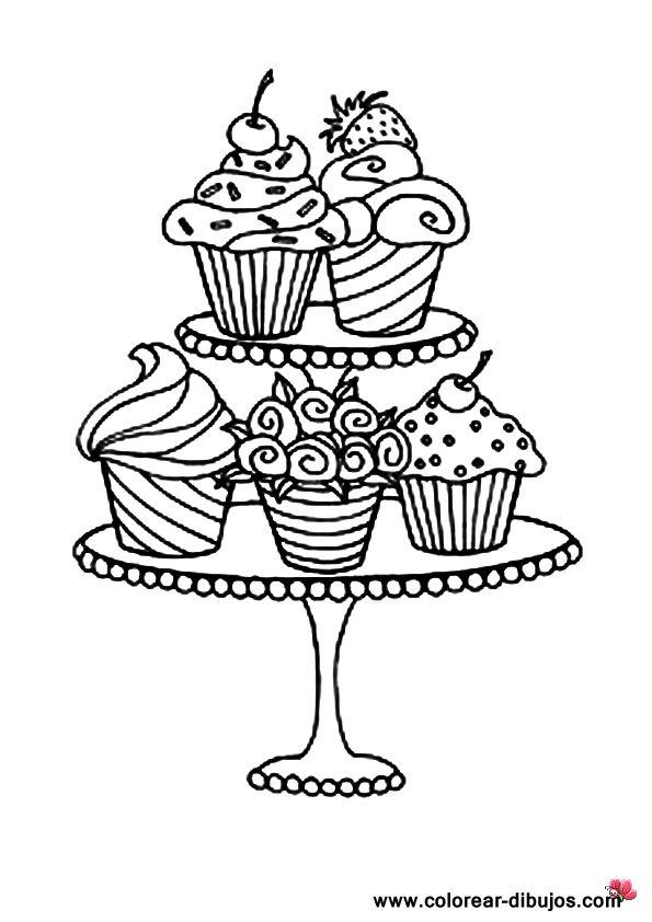 Dibujos de pasteles para colorear.Imprimir dibujos de