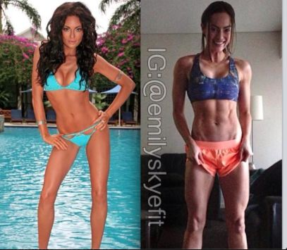 Emily Skye before and after fitness journey is different