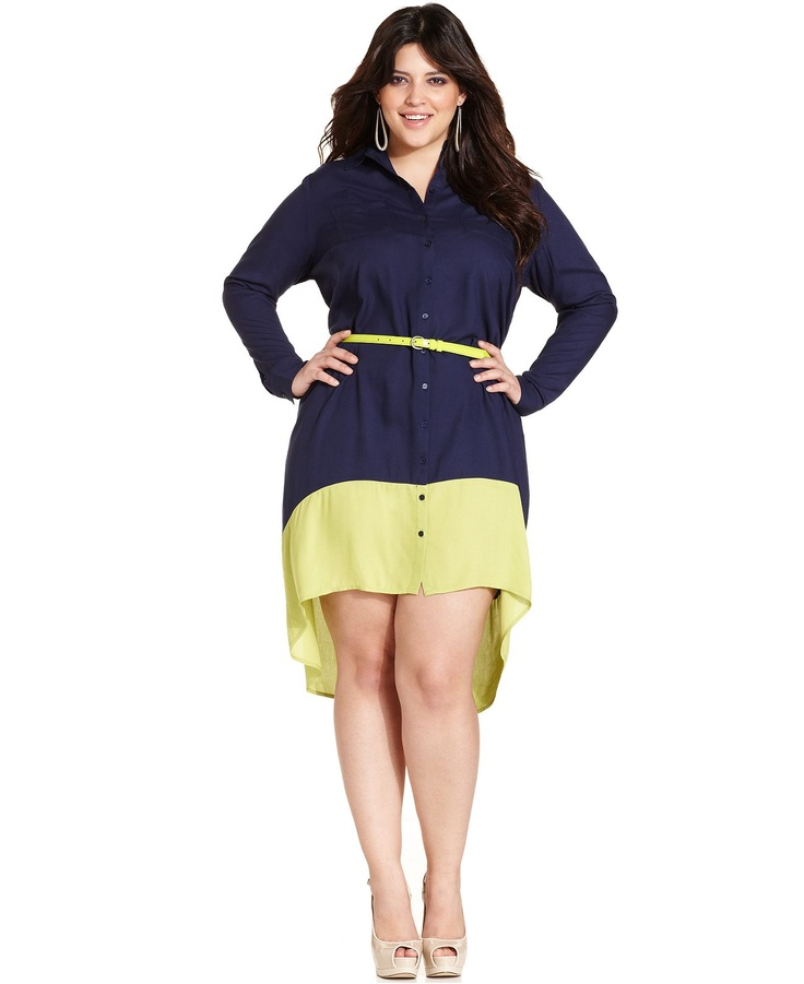 Jessica Simpson Plus Size Dress LongSleeve Colorblocked Shirtdress  Junior Plus Size  Plus