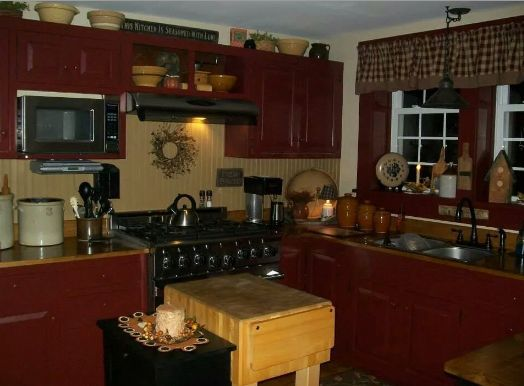 Nice cabinets and love bead board  Prim Kitchens