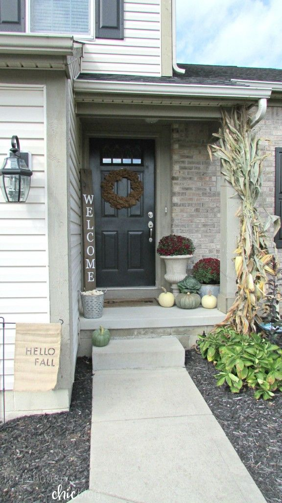 Welcome Fall Small Front Porch From Farmhouse Chic Blog Bloggers Best DIY Ideas Pinterest