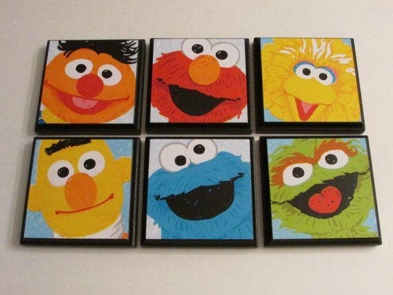 Sesamo Niños A Habitación Pared Placas Set De 6 Sesame Street Room Decor Bird Elmo Ernie Bert Cookie Monster Oscar El Grouch Signos
