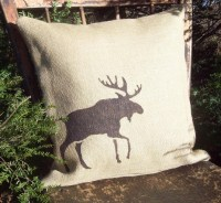 Moose Pillow Cover - Moose Pillow - Burlap Pillow - Cabin ...