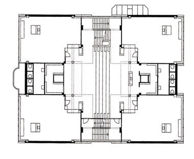 Plan and central atrium of one of the Apollo Schools. The