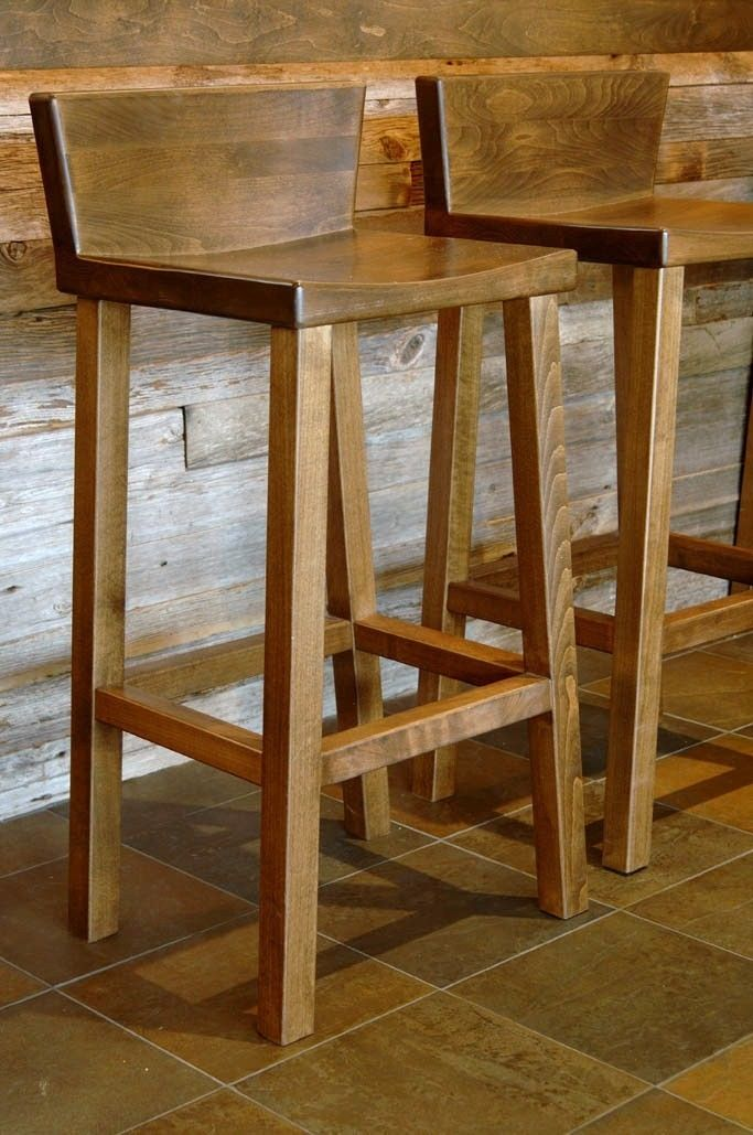 Wooden Bar Stool With Back