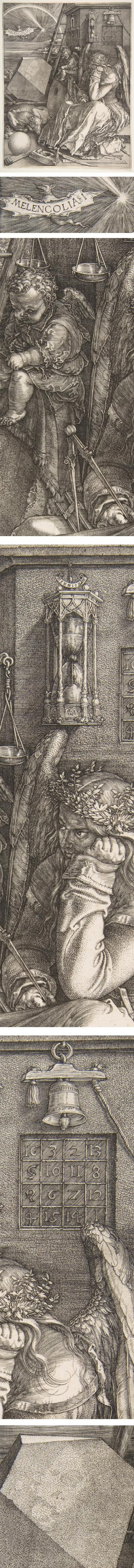 """One of the most iconic engravings by one of art's great printmakers, Melelcolia (an archaic spelling of melancholia) is filled with symbols of alchemy and carpentry (architecture), along with various measuring tools, an hourglass, a polyhedron and a """"magic square"""" — the rows of which add up to 34 in all directions.:"""