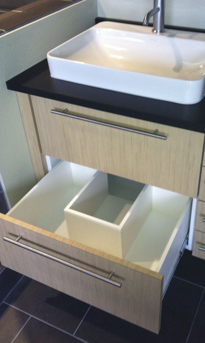 notched vanity drawer to accommodate Ptrap  Bath