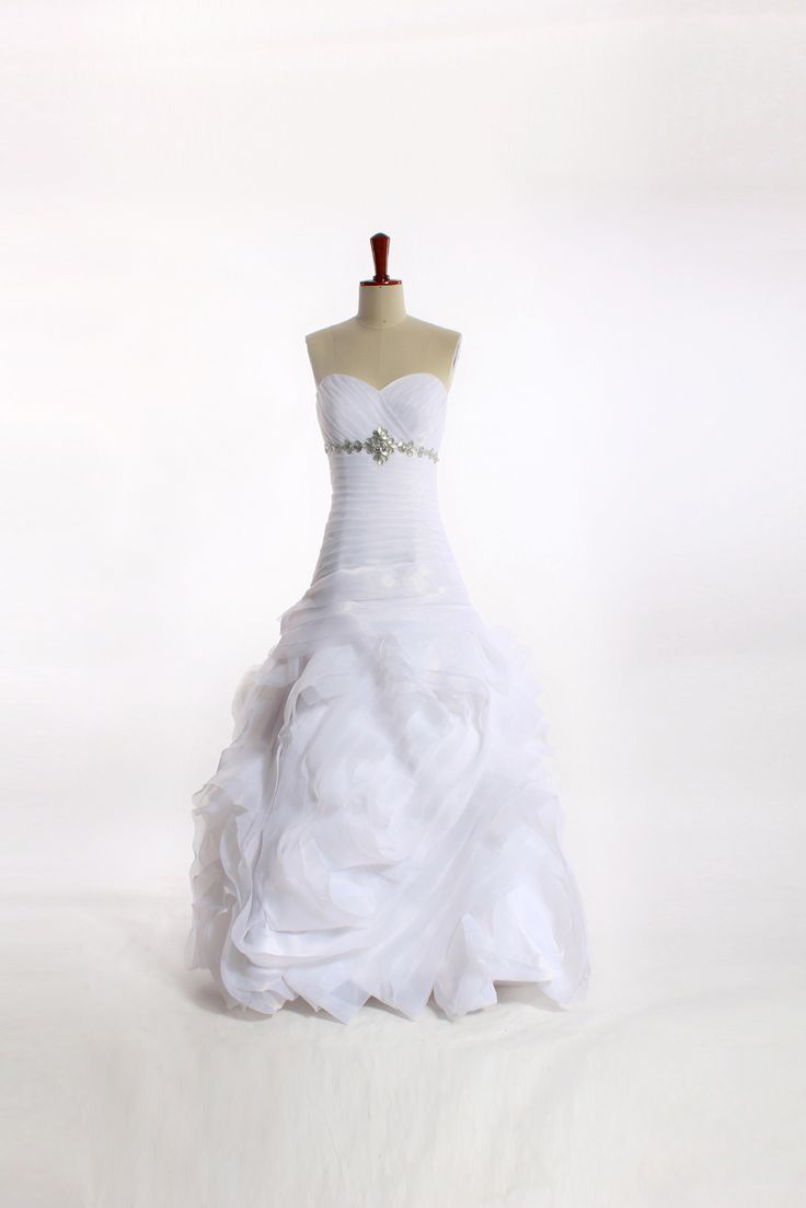 Strapless Organza bridal gown with empire waist