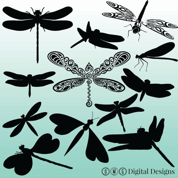 dragonfly silhouette digital