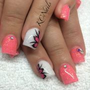 coal peach acrylic nails with white