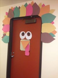 Turkey door decorations. Decor for thanksgiving. College