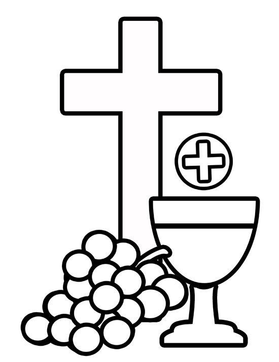Body of Christ & Blood of Christ Grapes and Cross Coloring