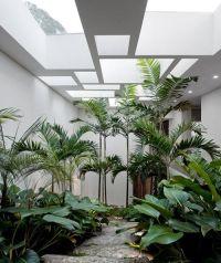 indoor garden separates living room and bedroom. In a more ...