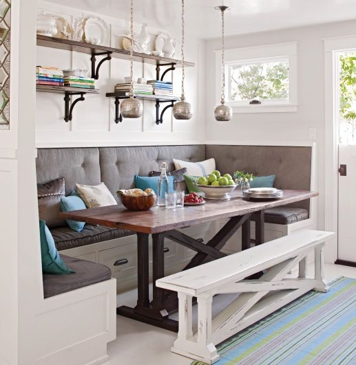 Awesome breakfast nook built in bench dining table and