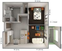 International House 1 Bedroom Floor Plan: Top View ...