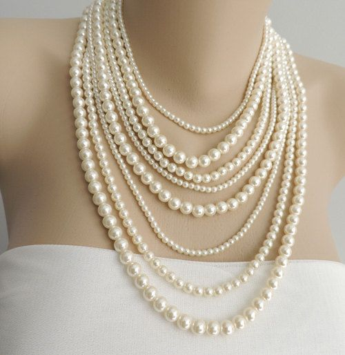 Multi Strand Pearl Necklace – Layer pearl necklace – Statement Necklace – pearl jewelry, chunky necklace, Style number  PN 04