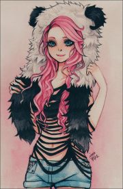 anime girl. with pink hair. character